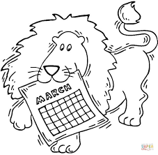 Small Picture Lion holding a calendar March coloring page Free Printable