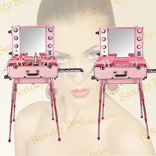 2018 to asia beautiful pink color aluminum makeup station with light bulb mirror trolley and 4 legs cosmetic train trolley case from boyamakeup6