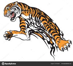 тигр прыжке агрессивный большие кошки татуировка стиль векторные