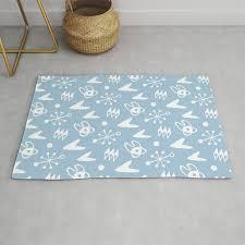 mid century modern atomic boomerang pattern light blue rug