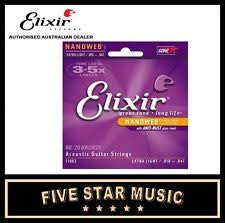 elixir nanoweb extra light acoustic bronze guitar strings 1 set 10 47 11002