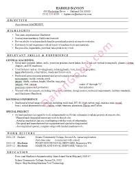 samole resume resume sample machinist