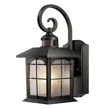 brimfield 180 degree 1 light aged iron motion sensing outdoor wall lantern