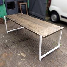 reclaimed wood dining table with white box frame
