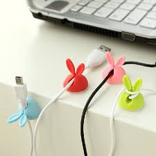 rless 4pcs candy color solid desk set lovely rabbit shaped wire