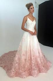v neck silk organza ball gown wedding dress with blush ombre