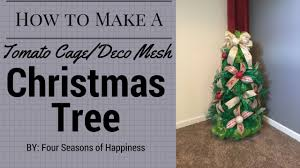 how to make a deco mesh tree with tomato cage