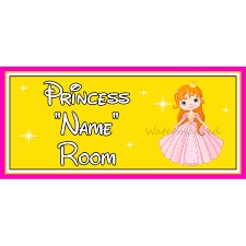 yellow personalised princess bedroom sign