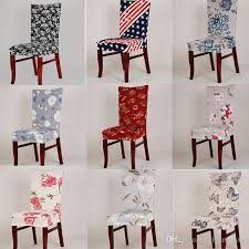 spandex elastic stretch chair covers printing chair protector slipcover kitchen dining chair cover removable dustproof decorative seat case slipcover