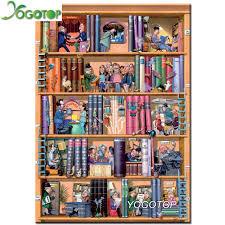 yogotop diy diamond painting cross sch bookshelf cartoon home decor square diamond mosaic full diamond embroidery