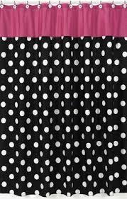 Pink Black & White Polka Dot Fabric Shower Curtain #kidsroomstore $39.99