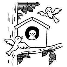 巣箱愛鳥週間春の季節5月の行事無料白黒イラスト素材 ことり