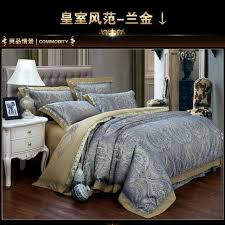 luxury blue paisley gold satin jacquard bedding sets king queen size sheets duvet cover bedspread wedding