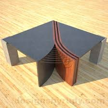 concrete and wood furniture. Concrete And Wood Table Coffee Unzipped With Metal Accents Top Front View Furniture