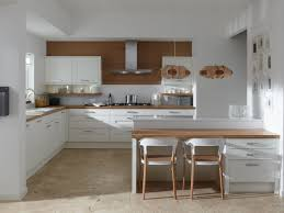 Split Level Kitchen Wooden Classic Kitchen Design Ideas In Cool L Shaped Layout With
