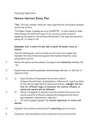 Nature Nurture Essay Plan