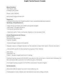 Example Teaching Resumes Sample Teacher Resume Template Sample ...