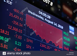 Live Chart Us Stocks New York Usa 14th Aug 2019 Trading Chart Is Seen On An