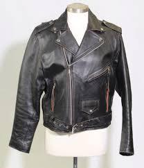 vintage leather men black leather biker jacket with fringe zipper pulls