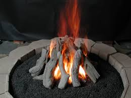 image of outdoor propane gas fireplace logs