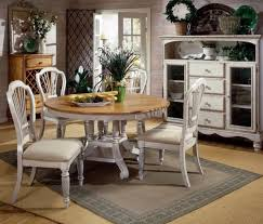 dining room set 5 piece round table wood leaf antique white 4 padded side chairs