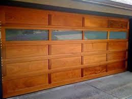 wood garage door panel with windows