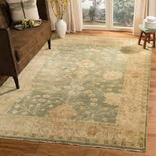 safavieh hand knotted oushak medium blue green wool rug 9 x 12