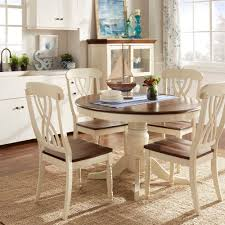 Mackenzie Country Style Two-tone Round Scroll Back Dining Set by iNSPIRE Q  Class