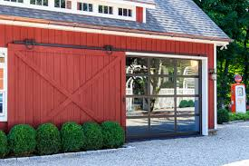 sliding garage doorsDecorations  Country House With Red Wooden Side Sliding Garage