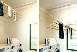 wall mounted wooden drying rack for clothes ceiling rod laundry room splashy dry