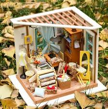 diy doll house with light 3d wooden puzzle handmade crafts girls gifts mini tableware american girl tailor house dg101 doll house puzzle gift with