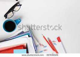 top office table cup. office table desk with set of colorful supplies white blank note pad cup top t