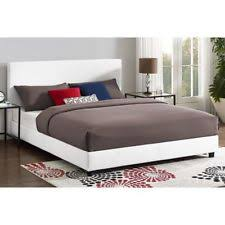 full size upholstered bed. Queen Size Upholstered Bed Frame White Faux Leather Modern Bedroom Furniture NEW Full