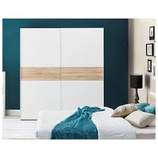 wilma sliding door wardrobe slider cupboard white and oak effect