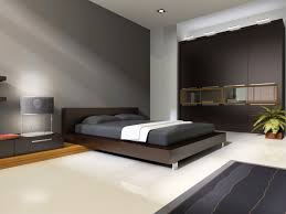 Minimalist dark grey and white master bedroom with low platform bed and  sloping ceiling