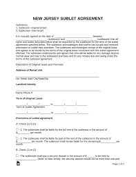 Sublease Agreement Samples Free New Jersey Sublease Agreement Form Pdf Word Eforms Free