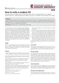 Curriculum Vitae Writer Pdf How To Write A Medical Cv