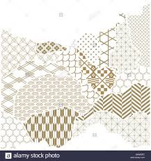 Postcard Collage Template Japanese Pattern Vector Gold Geometric Background In Paper