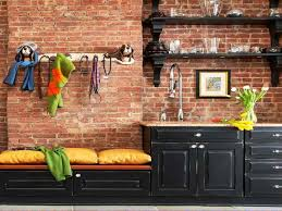Exposed Brick Kitchen Exposed Brick Kitchen Backsplash Brown Wooden Pedestal Countertop