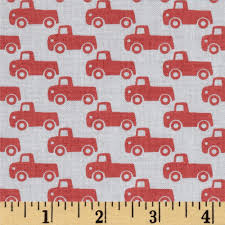 Tiny Trucks Michael Miller Tiny Trucks Paprika Discount Designer Fabric