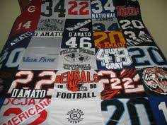I want to do something like this!! I have a mountain of the ... & I loved making this quilt from all of Tony's old jersey's and footbal  shirts. All Adamdwight.com