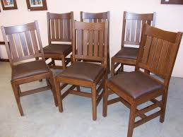 Set Of  New Mission Oak Dining Chairs Home Living Room - Amish oak dining room furniture