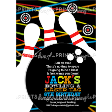 Bowling Invitation New Laser Tag Bowling Birthday Party Invite Dimple Prints Shop