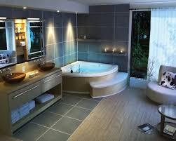 bathroom remodeling ideas mixed with corner bathtub and grey floor tile under light grey fur rug also double vanity sinks plus yellow shade ceiling lamps