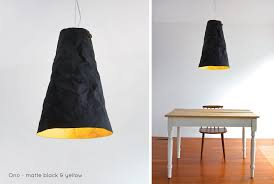 crumple white pendant lamp lighting. Ono Pendant Light - Matte Black Exterior, Yellow Interior | Comes In Beaten Crumple White Lamp Lighting