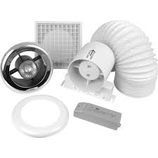 100mm inline shower extractor fan kit with light
