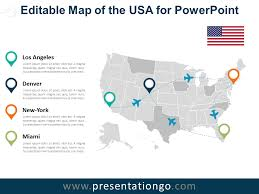 Usa Map For Powerpoint Usa Editable Powerpoint Map Presentationgo Com Map