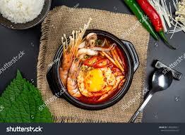 Korean Seafood Kimchi Soup On Black ...