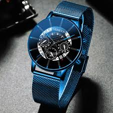 Luxury Men's Fashion Business Calendar Watches Blue <b>Stainless</b> ...