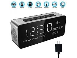 soun 12w wireless radio alarm clock bluetooth speaker with hd sound digital 9 4 led display